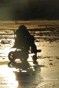 Christina Chase, wheelchair, beach